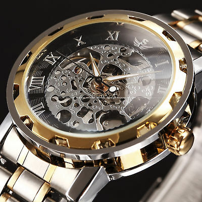 Men Classic Transparent Steampunk Skeleton Mechanical Stainless Steel Watch Gift
