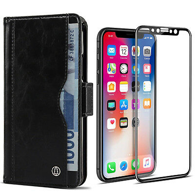 Real Leather Flip Wallet Case Cover Glass Screen Film for iPhone X XS 8 7 Plus