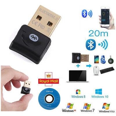 Wireless USB Bluetooth V4.0 CSR Dongle Adapter for Windows 7 8 10 PC Laptop