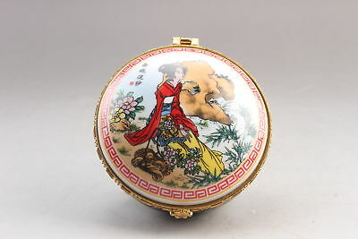 Exquisite Chinese painting beautiful woman ceramics Jewelry box  ar221