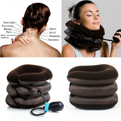 Neck Head Pain Traction Support Brace Device Air Inflatable Pillow Cervical