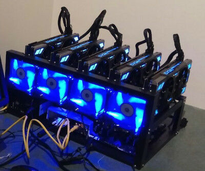 Fully working mining rig, 5x GeForce GTX 1080, stable and efficient