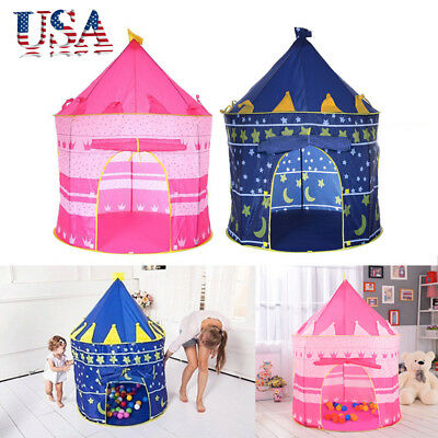 Portable Folding Kids Pop Up Play Tent Boy Girl Princess Castle Playhouse Indoor