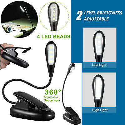 360° Flexible Neck Light Clip 4 LED Book Reading Lamp 2 Modes USB Rechargeable