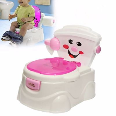 2 in 1 Child Toddler Potty Training Seat Baby Kid Fun Toilet Trainer Chair pink