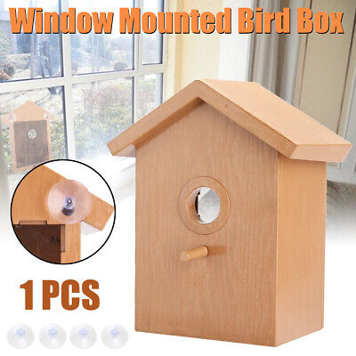 Suction Cup Window Mounted Bird Nest Nesting View Box Wooden Birdhouse Hanging