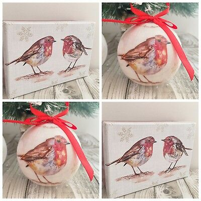 Set 6 Gift Boxed Baubles Vintage Style Robin Christmas Tree Decoration Xmas Gift