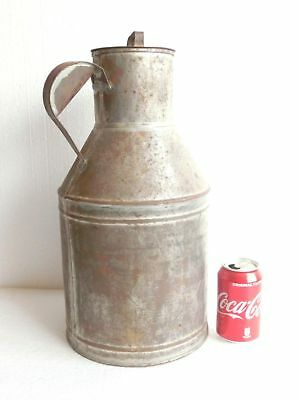 Antique Vtg. Galvanized 3 gallons Milk Pail Can Jug Bucket w/ Lid &Handle Marked