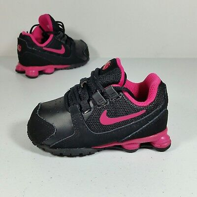 4f3e4bed60c028 Nike Shox Turbo Toddler Girl s Athletic Sneaker Shoes Black Hot Pink Size 5C