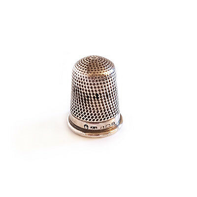 ANTIQUE SOLID SILVER THIMBLE by JAMES SWANN 1912 - SIZE 6