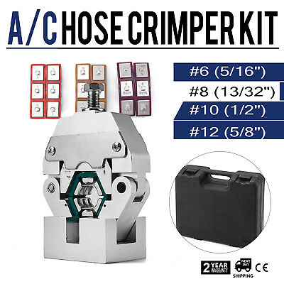 71550 Manually Operated A/C Hose Crimper Tool Kit W/ 4 Dies Set 17LBS Portable