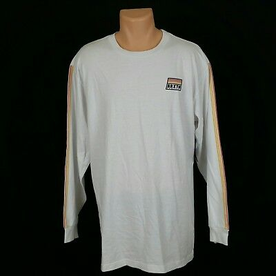 PacSun Mens White Standard Fit Long Sleeve Crewneck Tee Long T-Shirt Size XL 1751b3f3a