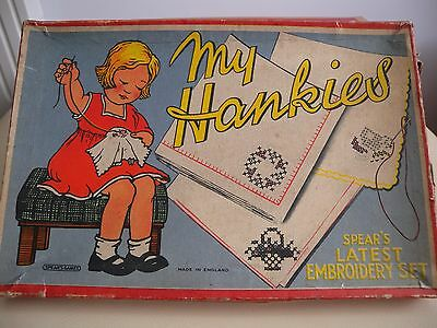 RARE Antique Spears  Toy Original box Embroidery set for children My Hankies NOS