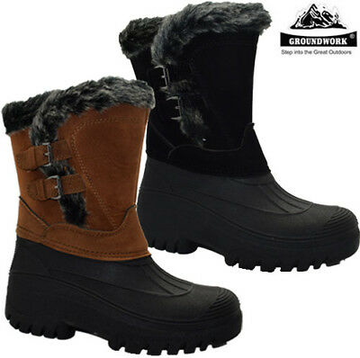 Ladies New Snow Warm Grip Mucker Boots Women Winter Thermal Zip Wellington Shoes