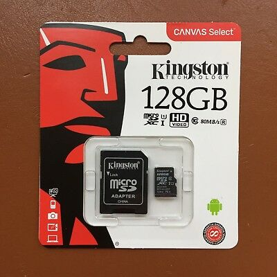 Kingston Micro SD 128 GB SDHC Memory Card Mobile Phone Class 10 With SD ADAPTER