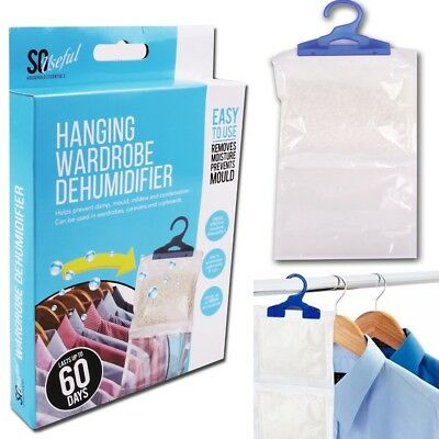 Hanging WARDROBE DEHUMIDIFIER BAG Prevent Mould/Mildew Absorb Moisture/Humidity