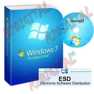 WINDOWS 7 PRO ESD con ADESIVO DVD SEVEN ORIGINALE MICROSOFT COMPUTER NOTEBOOK