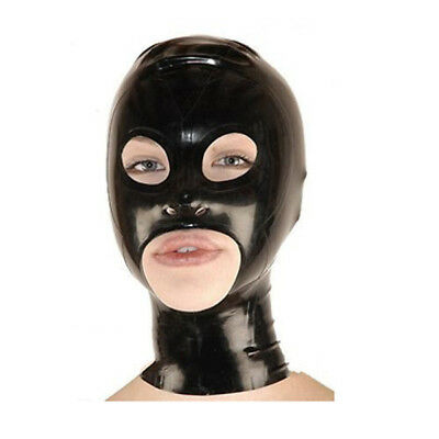 100% natural latex mask fetish rubber head hood with open eyes mouth