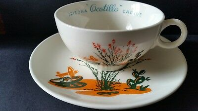VTG 1950's Blakely Oil&Gas Station VGC Arizona Cactus Dinnerware Cup & Saucer