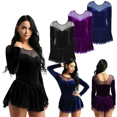 Womens Competition Ice Figure Skating Dress Long Sleeve Ballet Leotard Dancewear