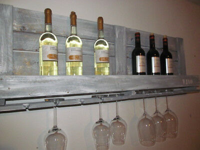 Weinregal, Wandregal aus Upcycling-Holz