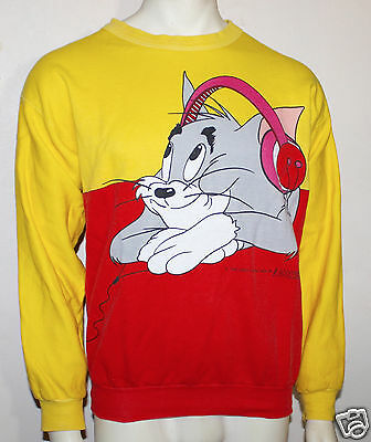 Tom and Jerry cartoon vintage 80's DJ music sweatshirt Caro Amoroso rare