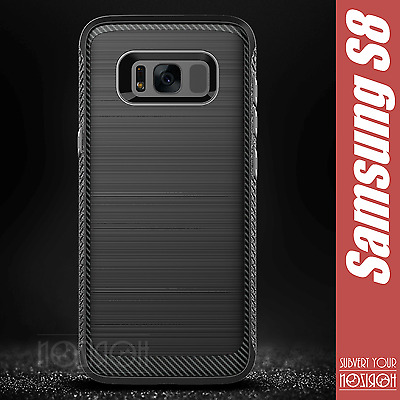 Samsung Galaxy S8 Carbon Cover Case + Tempered Glass Full Edge Rugged Noziroh