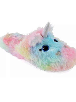 3d mule ladies / girls rainbow coloured enchanted unicorn slippers  novelty gift