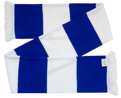 Chelsea Colours - Royal Blue and White Retro Bar Scarf - Made in the UK