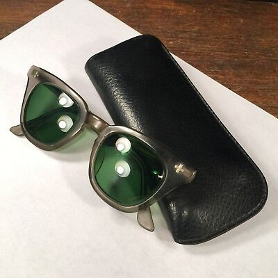 Vintage Safety Glasses Green Tinted Eyeglasses With Case PRIORITY MAIL a