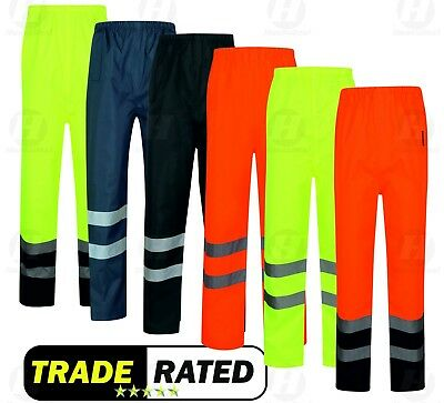 High Visibility Waterproof Over Trousers Work Wear Protective Safety Hi Viz Vis