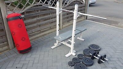 Domyos bench with 78 Kilos of weights and punch bag