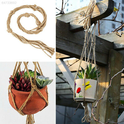 C554 770mm/990mm Hemp Rope Macrame Plant Pot Hanging Basket Hanger Home Garden D