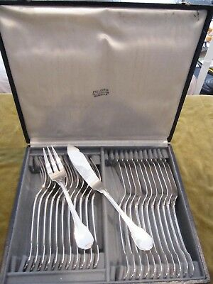 Gorgeous French sterling silver 24p fish cutlery set contours nets 1465g 51,7oz