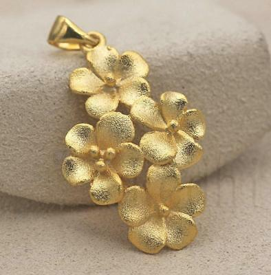 18K Gold Filled - Matte 3D Flowers Floral Pretty Jewelry Lady Pendant Party Gift