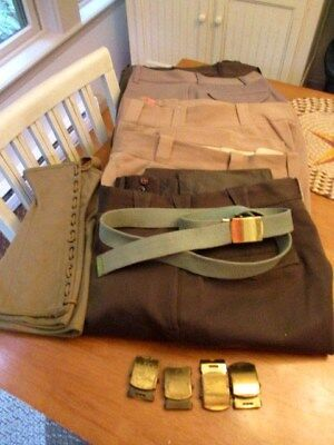 WWII US Army Air Force 5 Pair of Officer TROUSERS, 1 Pr. Gaiters, Buckles / Belt