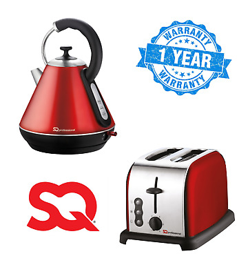 Toaster Kettle 2 Slice 1.8L Swivel Wide Slot Bread Electric Set Cordless RED