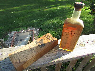 RARE Early SHERMAN, TEXAS Corked BARB WIRE Cut & RHEUMATISM Cure, UNOPENED w/Box