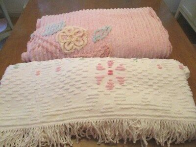 Pair of Vintage Chenille BEDSPREADS 1 White 1 Pink Cutter
