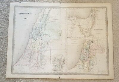 """19th C. C1863 Israel Palestine Middle East Map 33""""X24"""" Thick Paper Hand Colored"""