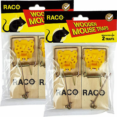 Raco 4 x Traditional Wooden Mouse Killer Snap Traps for Fast Mice Control
