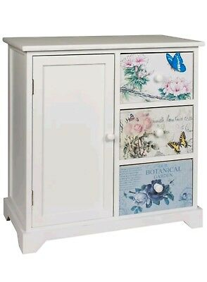 White 3 Drawer 1 Door Chest Cabinet Blue Pink and Grey Butterfly Floral pattern