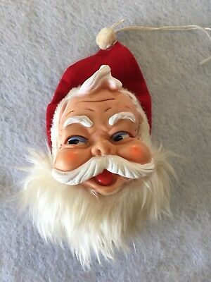 Vintage Musical Santa Head Wall/Door Hanging 1950s Plays Jingle Bells