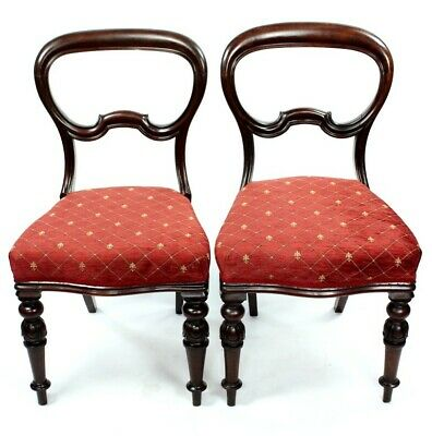 A Pair of Antique Walnut Balloon Back Chairs - FREE Shipping [PL4710]
