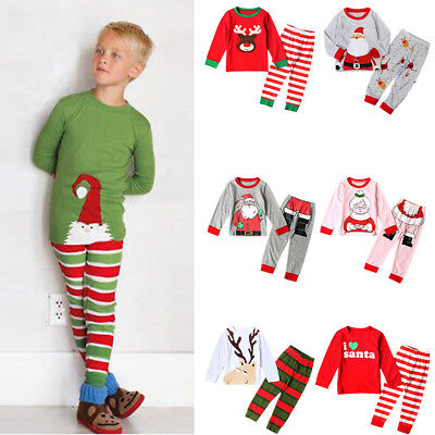 Baby Kid Boy Girl Christmas Top + Pants Sleepwear Pajamas Party Clothes Outfits