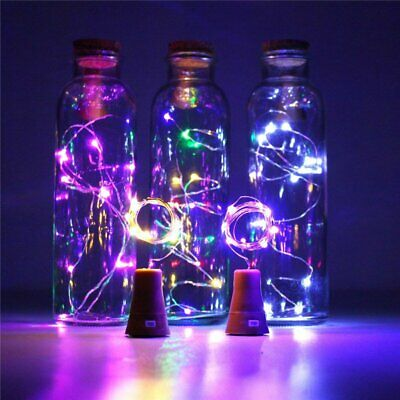 LED Solar Fairy String Lights Wine Bottle Copper Cork Wire Lamp Party Xmas Decor