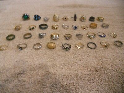 LOT of 36 Vintage Costume Jewelry Rings