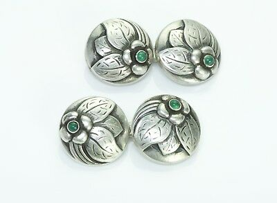 Early Georg Jensen Silver Floral & Chrysoprase Double-Sided Cufflinks No.18