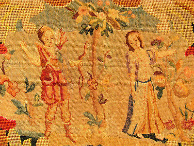 Large antique needlepoint and petitpoint panel. Lovers scene. Late 19th century.