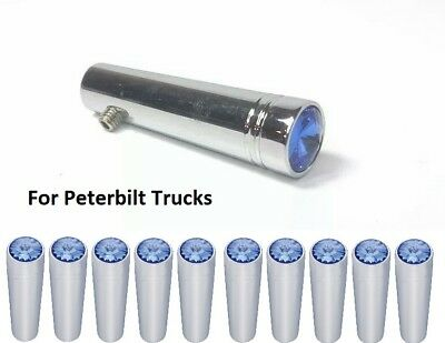 Set(10) for Peterbilt Blue Toggle Switch Extensions 1-7/8 Long, Chrome Metal